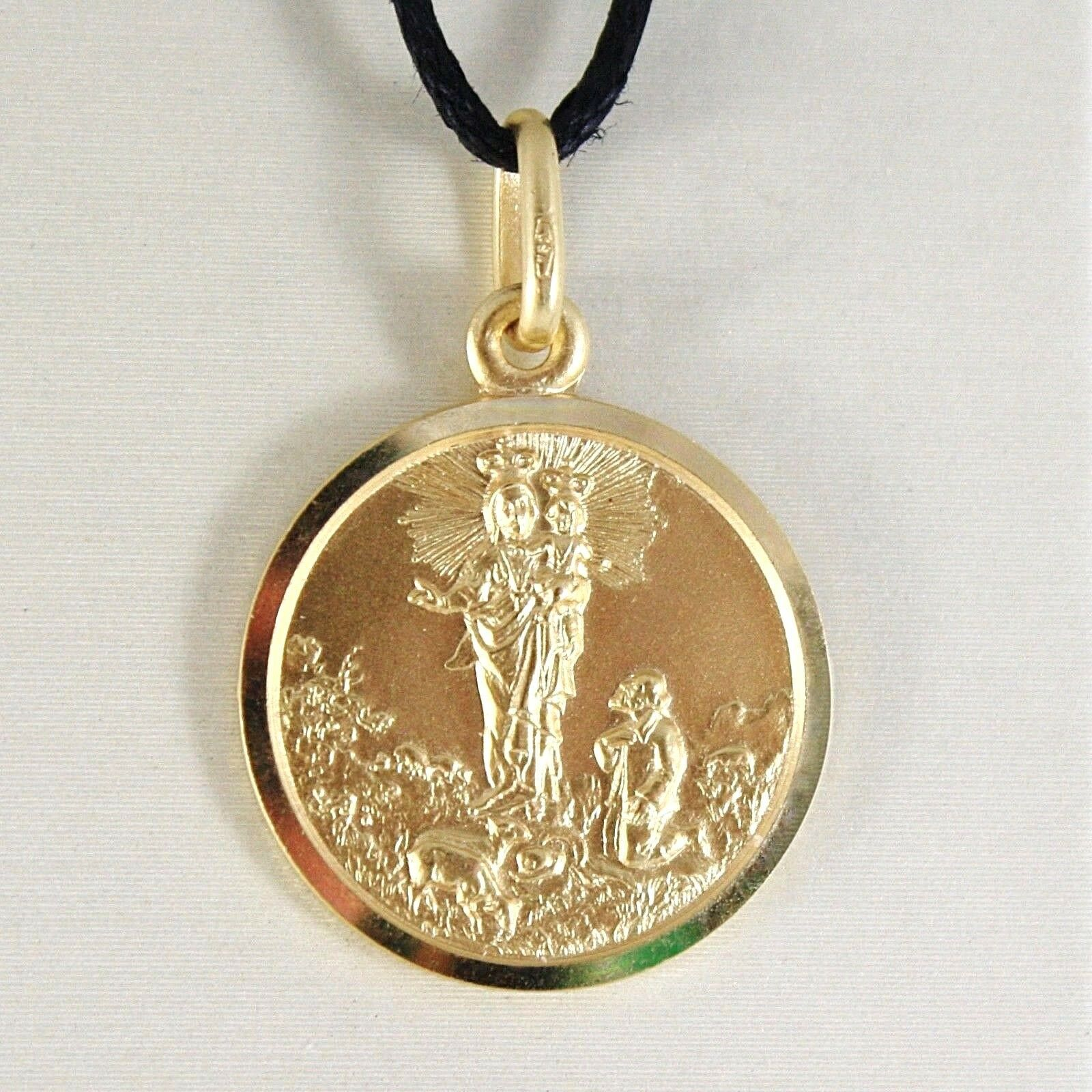 SOLID 18K YELLOW GOLD OUR MARY LADY OF THE GUARD 15 MM ROUND MEDAL MADE IN ITALY