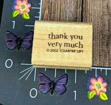 Stampin' Up! Thank You Very Much Rubber Stamp 2002 Print Wood Mount #B115 - $2.23