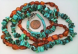 Turquoise Amber Gemstone Necklace - $27.25