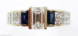 14K Gold .61ct Emerald Cut Genuine Natural Diamond Ring with Sapphires (#754) - $2,693.25