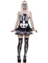 Smiffys Fever Skeleton Skull Tutu Punk Adult Womens Halloween Costume 31969 - £15.95 GBP
