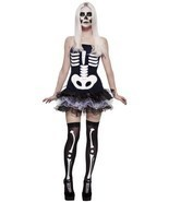 Smiffys Fever Skeleton Skull Tutu Punk Adult Womens Halloween Costume 31969 - £16.11 GBP