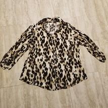 Women's JM Collection Button Down Shirt ~ Sz 1X ~ Animal Print ~ Long Sl... - $17.81