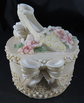 VTG Bisque Porcelain Jewelry Box Lid Woman Shoe Floral Feather Trinket 3... - $35.00
