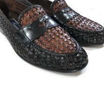 $180 COLE HAAN Bragano Brown Woven Leather Loafers Mens Size 7.5 | 283 image 2