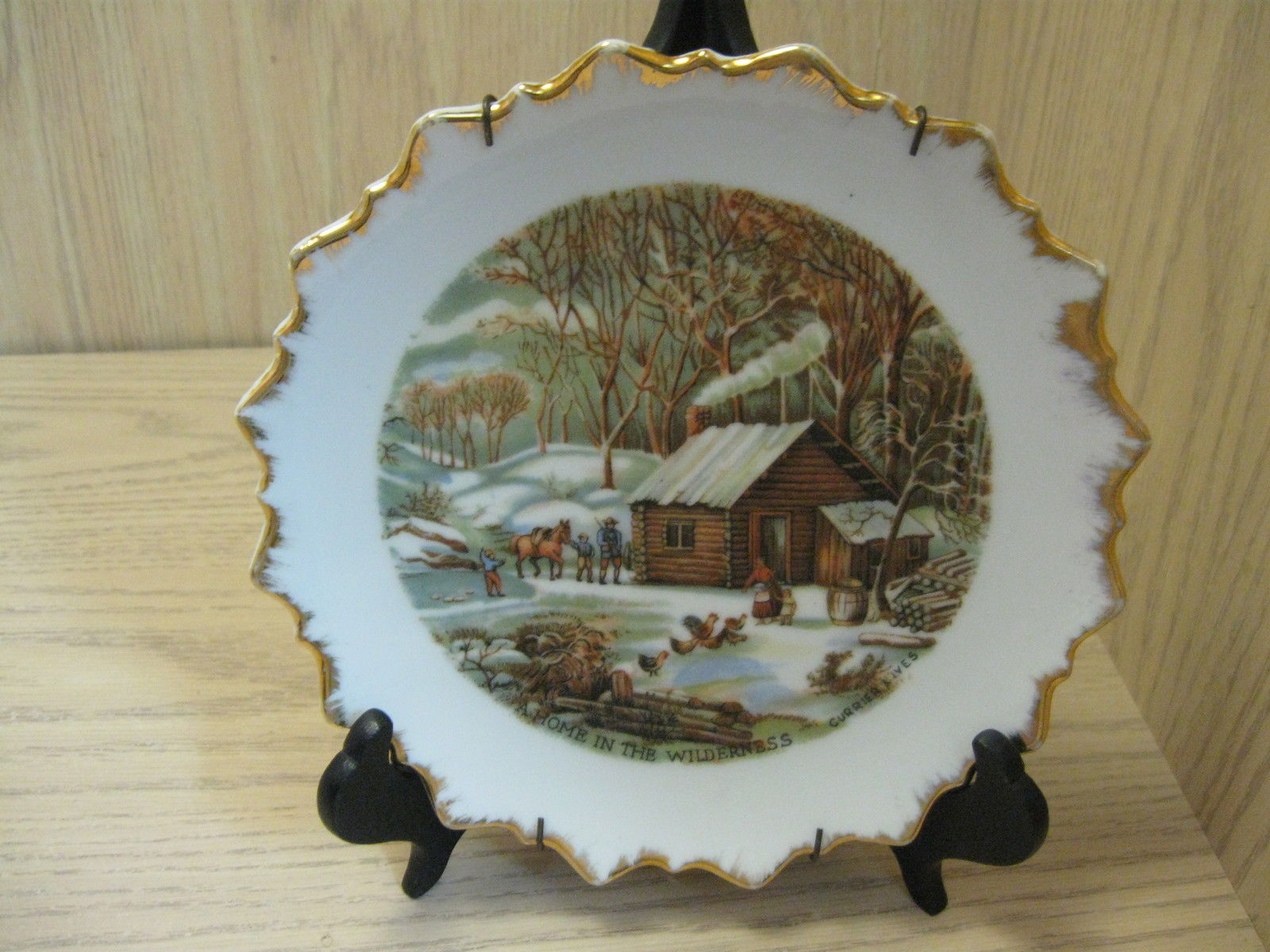 afb1ee630b22 Collector Plate Home In The Wilderness Currier   Ives Scallop Gold Rim  Plate -  9.95