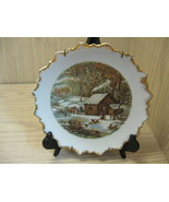Collector Plate Home In The Wilderness Currier & Ives Scallop Gold Rim P... - $9.95