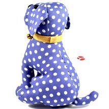 Delton Blue Polka Dot Fabric Puppy Dog Jingle Bell Small Door Stopper Doorstop image 3