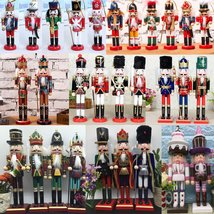 38cm Wooden Nutcracker Doll Soldier Vintage Handcraft Decoration Christm... - $35.98