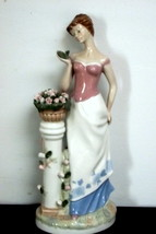 Large Lady with Flowers Porcelana de Cuernavaca Figurine - $44.55