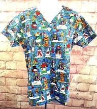 Lifestyle Womens Uniform Scrubs Sz S Snowman Christmas Tree Reindeer Hearts Blue - $14.24