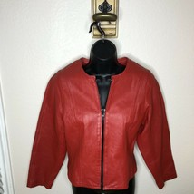 Womens vintage Red leather jacket coat Zip size M CHI (by Faichi)  - $31.68
