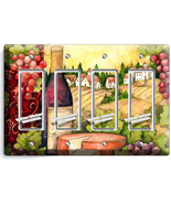 TUSCAN COUNTRY VINE BOTTLE CHEESE GRAPES 4 GFCI LIGHT SWITCH PLATE KITCH... - $19.79