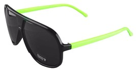NEW Quay Eyeware Australia 1435 Shiny Black Neon Green Smoke 100% UV Sunglasses