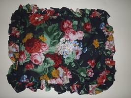 Rare Ralph Lauren Cossette Isadora Black Floral Throw Pillow Cover Mini ... - $93.49