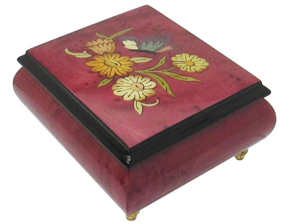 "Primary image for Italian Music Box, 5"", Floral Butterfly Inlay, Bolero"