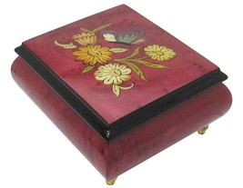 "Italian Music Box, 5"", Floral Butterfly Inlay, Bolero - $159.95"