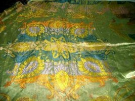 ANTIQUE ITALIAN SILK DAMASK BEDSPREAD TAPESTRY BRAIDED FRINGE ARABIAN LA... - $269.99