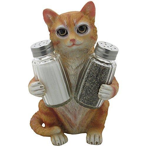 Orange Tabby Kitty Cat Glass Salt & Pepper Shaker Set with Holder Figurine in De