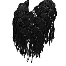 Black Sparkle Crochet Tassel Infinity Scarf - £12.00 GBP