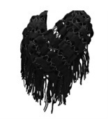 Black Sparkle Crochet Tassel Infinity Scarf - £11.38 GBP