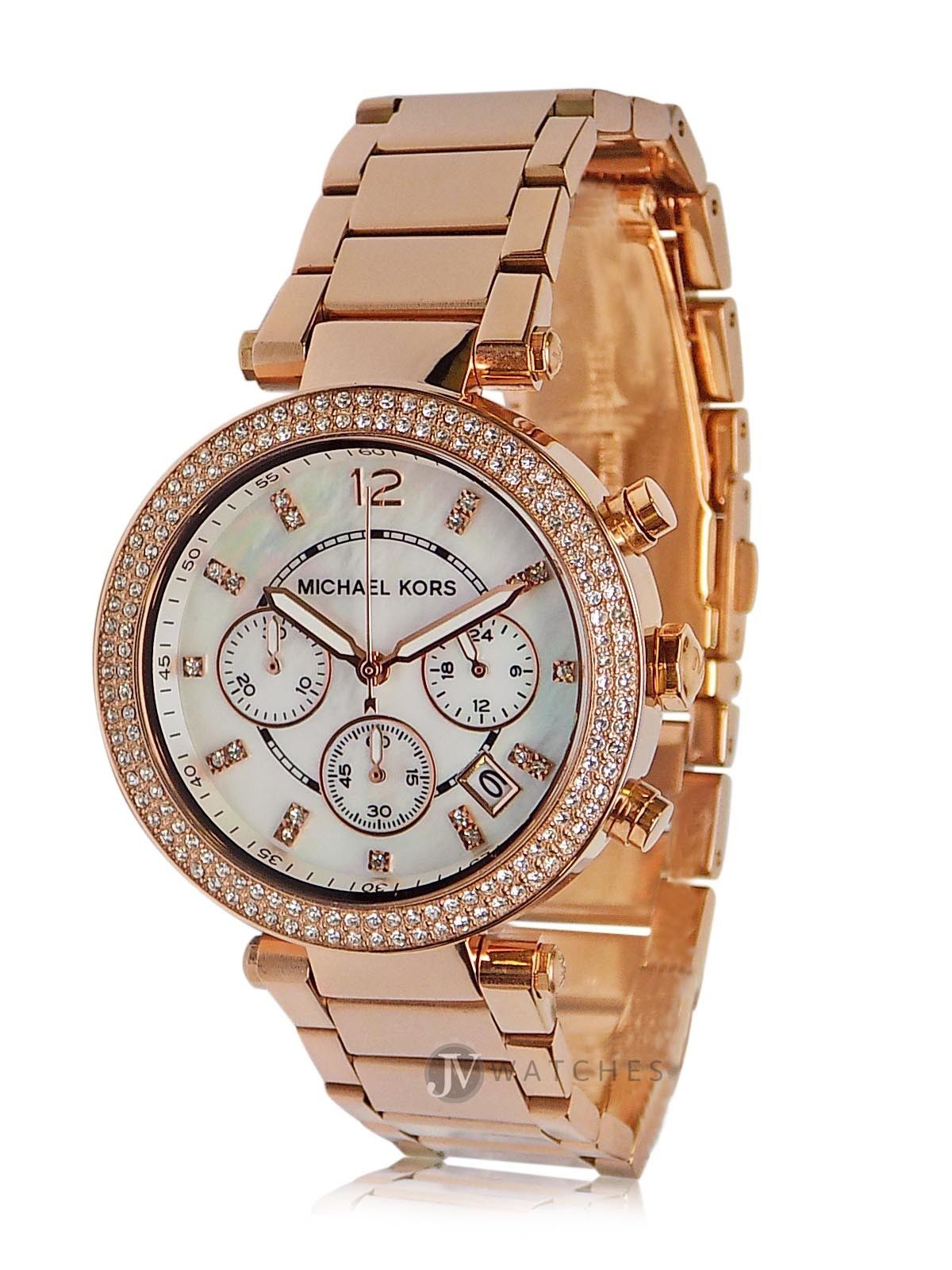 Used, NWT WOMENS MICHAEL KORS (MK5491) PARKER ROSE GOLD CHRONOGRAPH DIAL WATCH for sale  USA