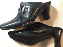 A2 By Aerosoles VINTAGE Black Leather High Heel BUCKLE TOP Clogs Size 7 ... - $12.86