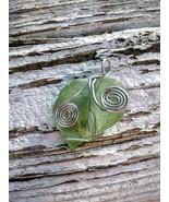 Ocean Gift necklace: Pale green Estonian sea glass, silver wire wrap spi... - $29.00