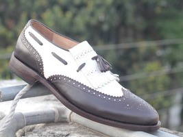 Handmade Brown White Tussle Leather Shoes, Men's Ankle Dress Formal Shoes - $139.00 - $179.97