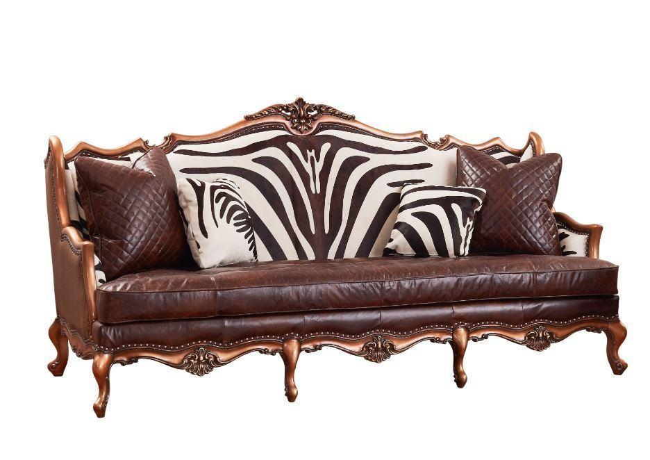 Exotic Safari African Zebra Leather Sofa Brown Couch Home ...