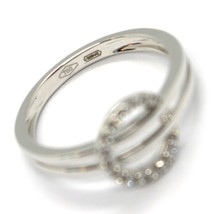 SOLID 18K WHITE GOLD DOUBLE TUBE BAND RING WITH CENTRAL CUBIC ZIRCONIA CIRCLE image 2