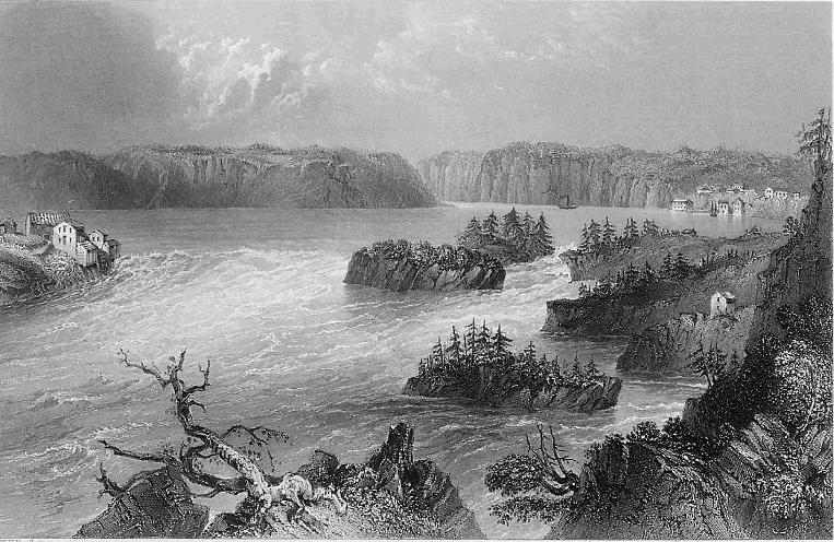 CANADA Great Falls on St. John River - Steel Engraving Print
