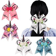 Oaoleer 8 inch Unicorn Cheer Bows for Cheerleader Girls Rainbow Hair Pon... - $13.89