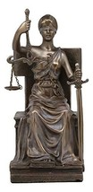 """Ebros Seated Lady Justice in Blindfold with Scales and Sword Statue 8.25"""" Tall G - $39.99"""