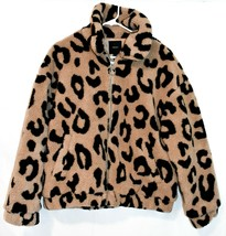 Forever 21 Women's Leopard Animal Print Fleece Quilted Heavy Winter Coat Size L
