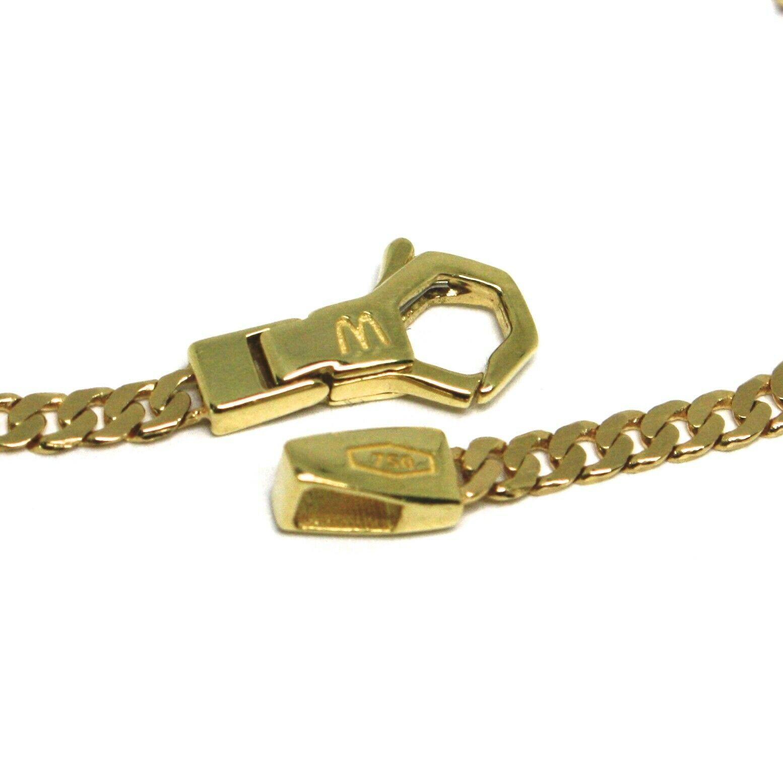 Armband Gelbgold 18K 750, Curb Chain Damen Wohnung, Mini Platte, Länge 20.5 CM