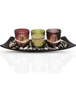 Urban Deco Natural Candlescape Set 3 Decorative Candle Holders, Rocks an... - $13.69