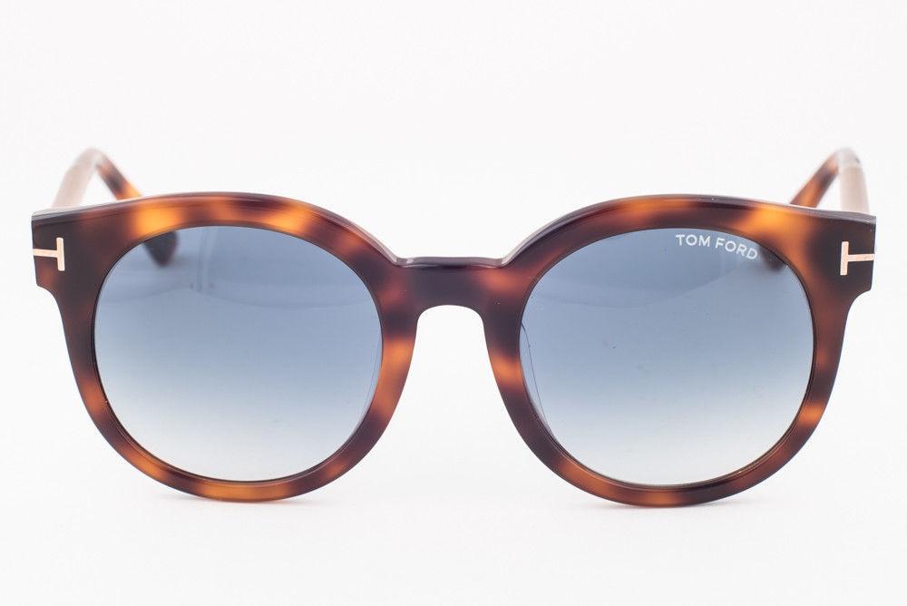 Tom Ford Janina Dark Havana / Blue Gradient Sunglasses TF435-F 52P Asian Fit