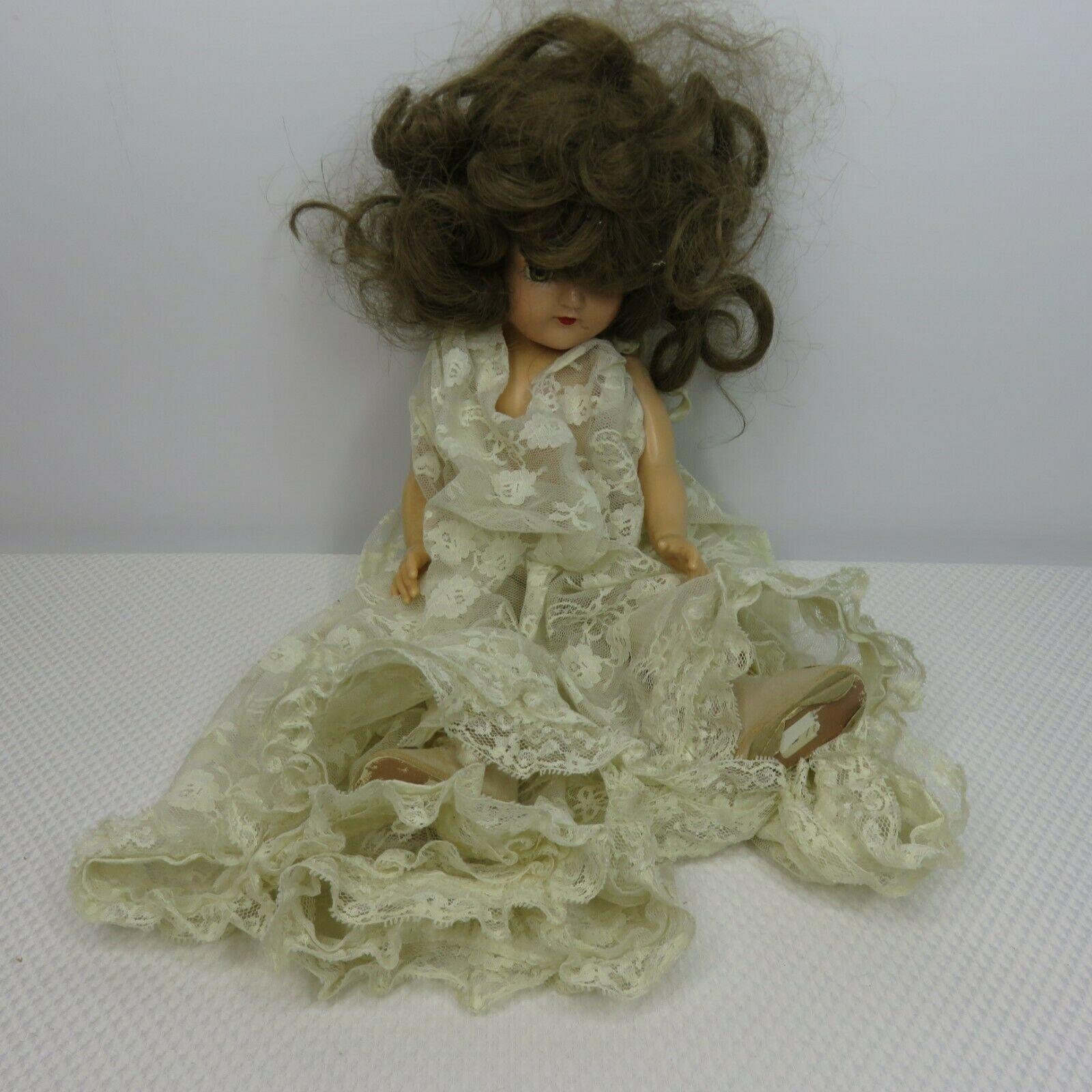 """Vintage Ideal Toni P-90 Doll 14"""" Brunette Long Hair Lace Dress"""