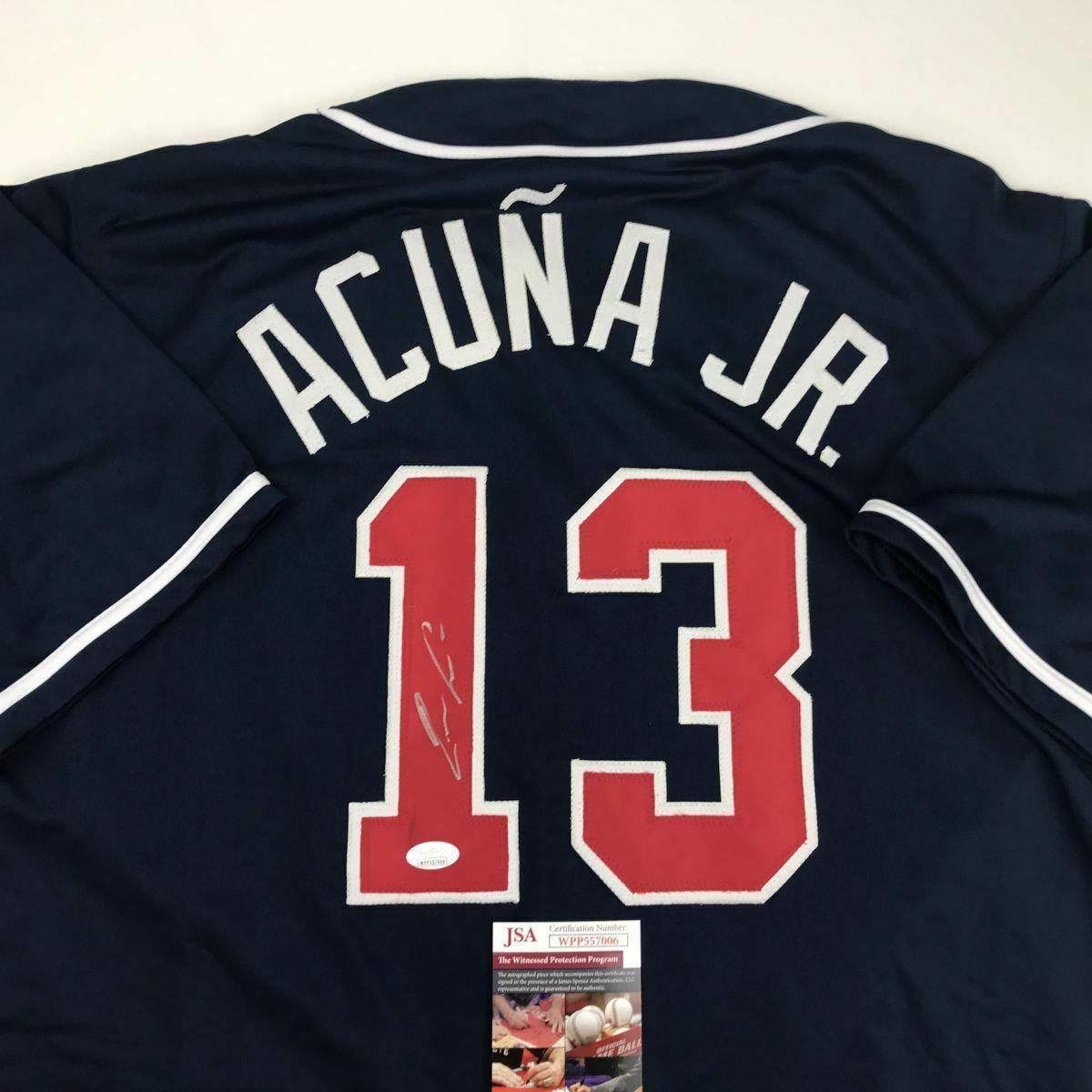 Autographed/Signed RONALD ACUNA JR. Atlanta Blue Baseball Jersey JSA COA Auto