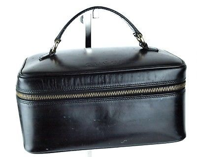 2bfd6dca578 Auth GUCCI Cosmetic Black Patent Leather Cosmetic Hand Bag Accessories Pouch