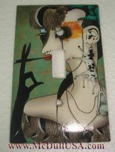 Artist Smoking Lady Light Switch Power Duplex Outlet Wall Cover Plate Home decor image 1