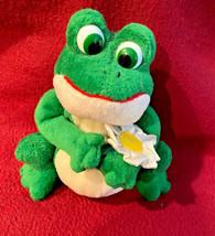 """Russ Berrie 6"""" """"Daisy"""" Green Frog White Flower Plush Bean Bag - $12.19"""