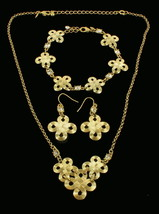 VINTAGE CELTIC SYMBOL GOLD TONE NECKLACE BRACELET & DANGLE EARRINGS ADJ ... - $101.24