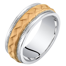 Men's 8mm Sterling Silver Rose Tone Criss-Cross Wedding Band - $114.99
