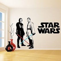 (79'' x 55'') Star Wars Vinyl Wall Decal / Obi Wan Kenobi & Anakin Skywalker wit - $103.66