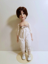 VINTAGE DOLL PORCELAIN DOLL HEAD, ARMS, LEGS WITH STAND 15 INCHES - $13.06