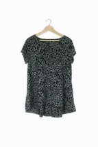 George grey & black burnt out leopard animal pattern trapeze summer top ... - $13.63