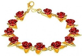 U7 Women Girls Cute 18K Gold Plated Link Red Rose Flower Charm Bracelets - $29.15