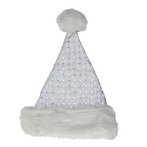St. Nick's Choice White Quilted Christmas Santa Hat Silver Sequins; Adul... - €5,90 EUR